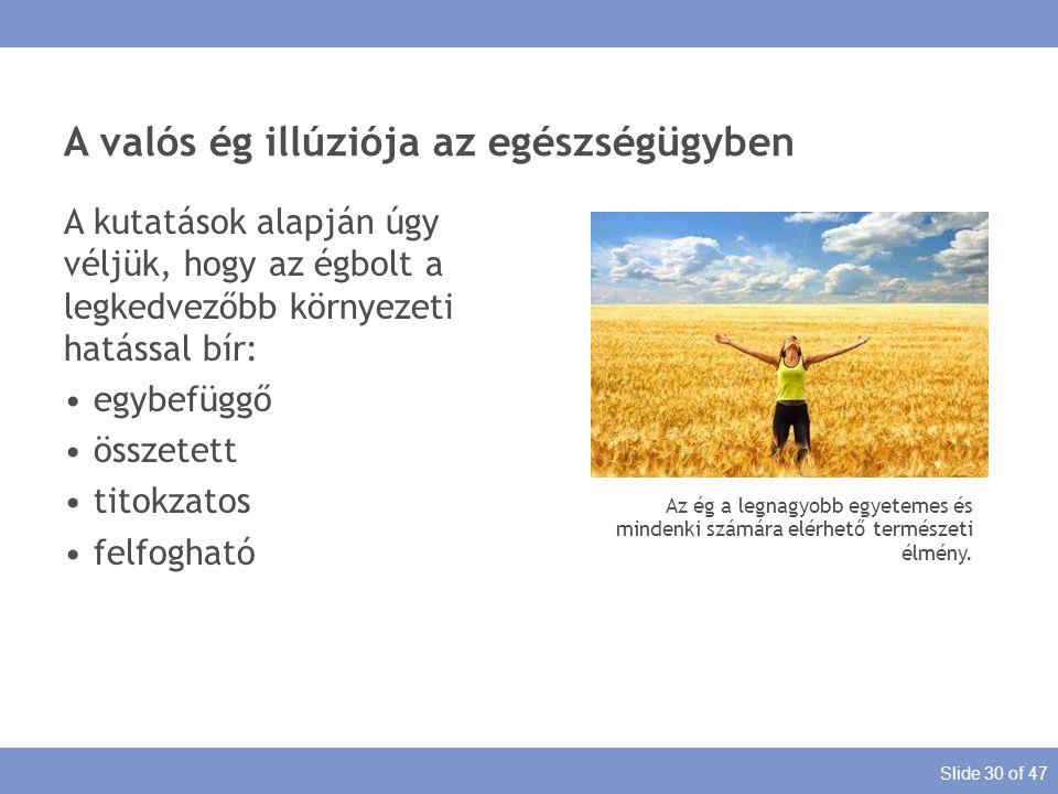 Slide 30 of 47 A valós ég illúziója az egészségügyben Az ég a legnagyobb egyetemes és mindenki számára elérhető természeti élmény. A kutatások alapján