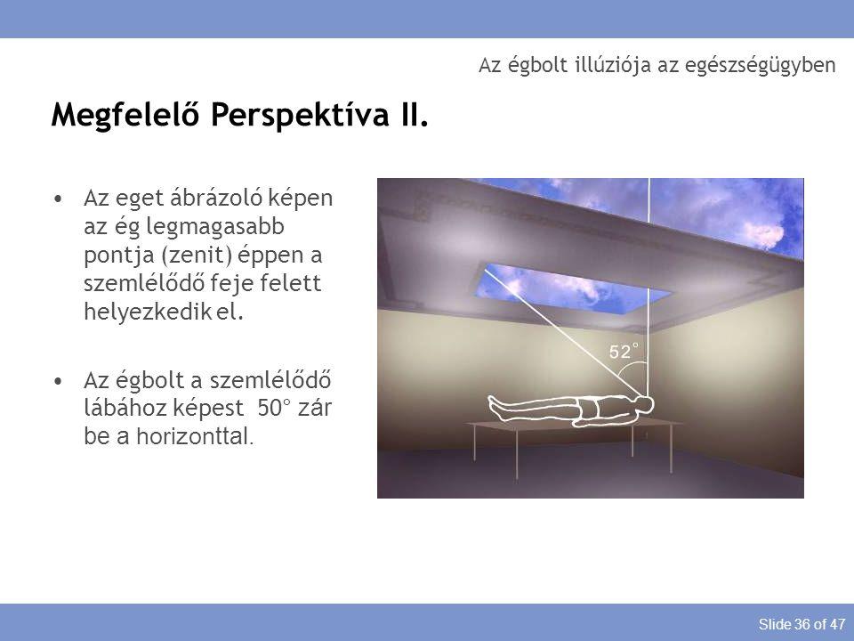 Slide 36 of 47 Az égbolt illúziója az egészségügyben Az eget ábrázoló képen az ég legmagasabb pontja (zenit) éppen a szemlélődő feje felett helyezkedi