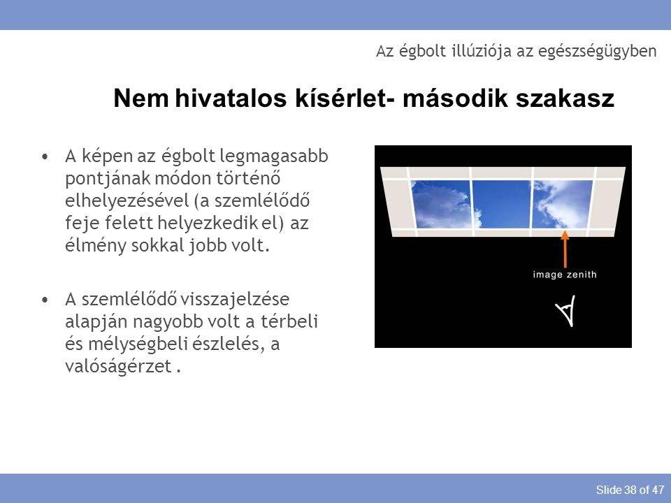 Slide 38 of 47 Az égbolt illúziója az egészségügyben A képen az égbolt legmagasabb pontjának módon történő elhelyezésével (a szemlélődő feje felett he