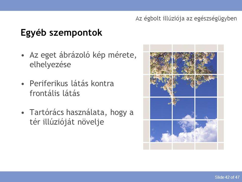 Slide 42 of 47 Az égbolt illúziója az egészségügyben Az eget ábrázoló kép mérete, elhelyezése Periferikus látás kontra frontális látás Tartórács haszn