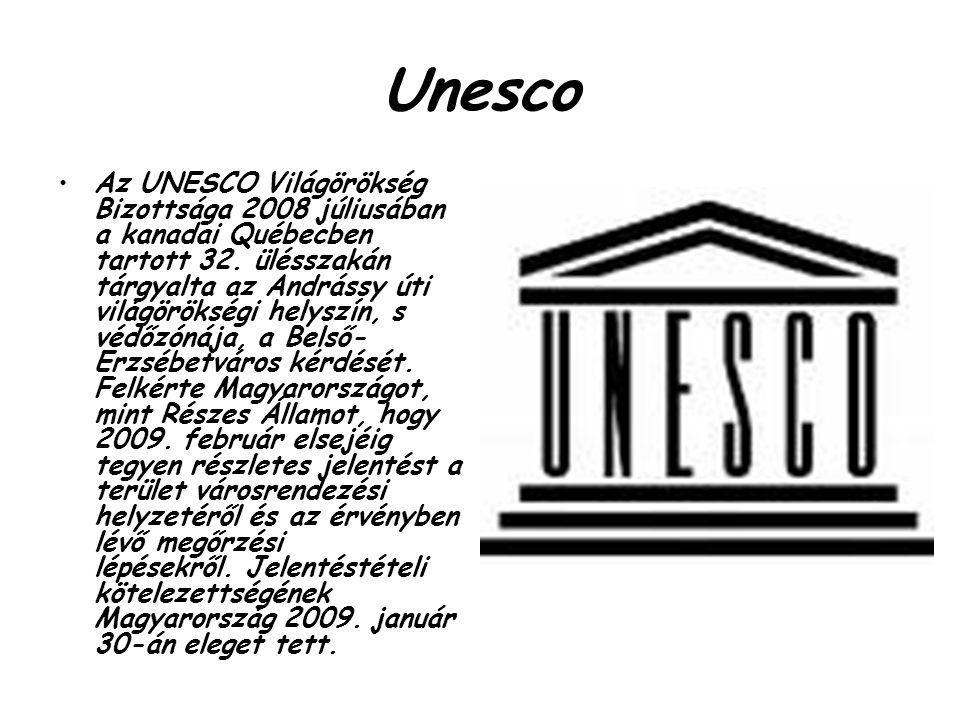 Unesco Az UNESCO Világörökség Bizottsága 2008 júliusában a kanadai Québecben tartott 32. ülésszakán tárgyalta az Andrássy úti világörökségi helyszín,