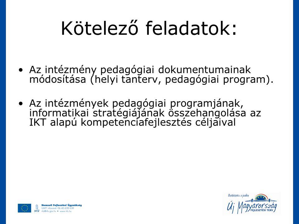 Kötelező feladatok: Az intézmény pedagógiai dokumentumainak módosítása (helyi tanterv, pedagógiai program). Az intézmények pedagógiai programjának, in