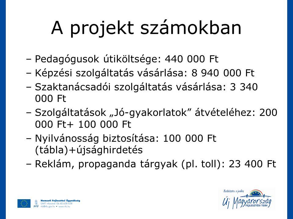 A projekt számokban –Pedagógusok útiköltsége: 440 000 Ft –Képzési szolgáltatás vásárlása: 8 940 000 Ft –Szaktanácsadói szolgáltatás vásárlása: 3 340 0