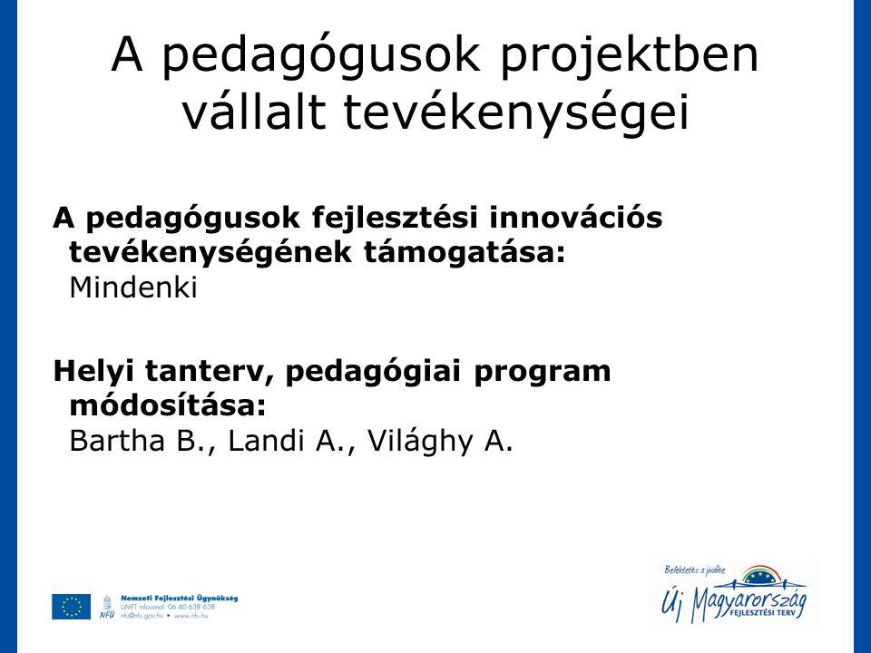 A pedagógusok projektben vállalt tevékenységei A pedagógusok fejlesztési innovációs tevékenységének támogatása: Mindenki Helyi tanterv, pedagógiai pro