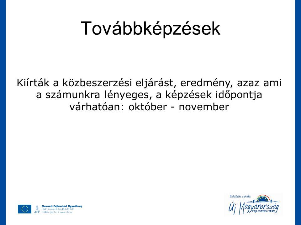 Továbbképzések Kiírták a közbeszerzési eljárást, eredmény, azaz ami a számunkra lényeges, a képzések időpontja várhatóan: október - november
