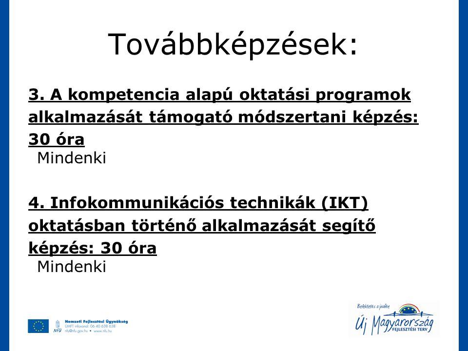 Továbbképzések: 3. A kompetencia alapú oktatási programok alkalmazását támogató módszertani képzés: 30 óra Mindenki 4. Infokommunikációs technikák (IK