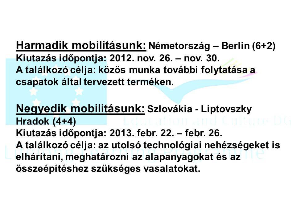 Harmadik mobilitásunk: Németország – Berlin (6+2) Kiutazás időpontja: 2012.