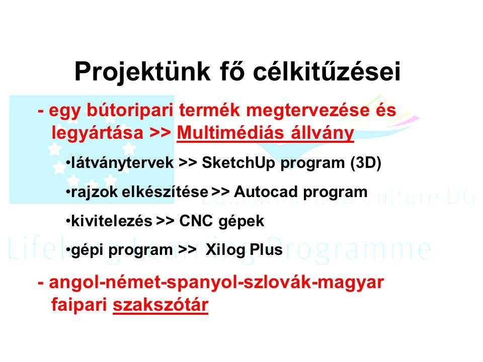 Projektünk fő célkitűzései - egy bútoripari termék megtervezése és legyártása >> Multimédiás állvány látványtervek >> SketchUp program (3D) rajzok elkészítése >> Autocad program kivitelezés >> CNC gépek gépi program >> Xilog Plus - angol-német-spanyol-szlovák-magyar faipari szakszótár