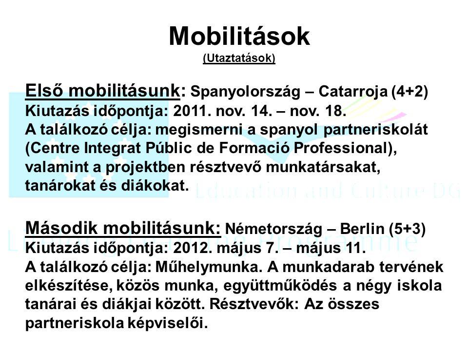 Mobilitások (Utaztatások) Első mobilitásunk: Spanyolország – Catarroja (4+2) Kiutazás időpontja: 2011.