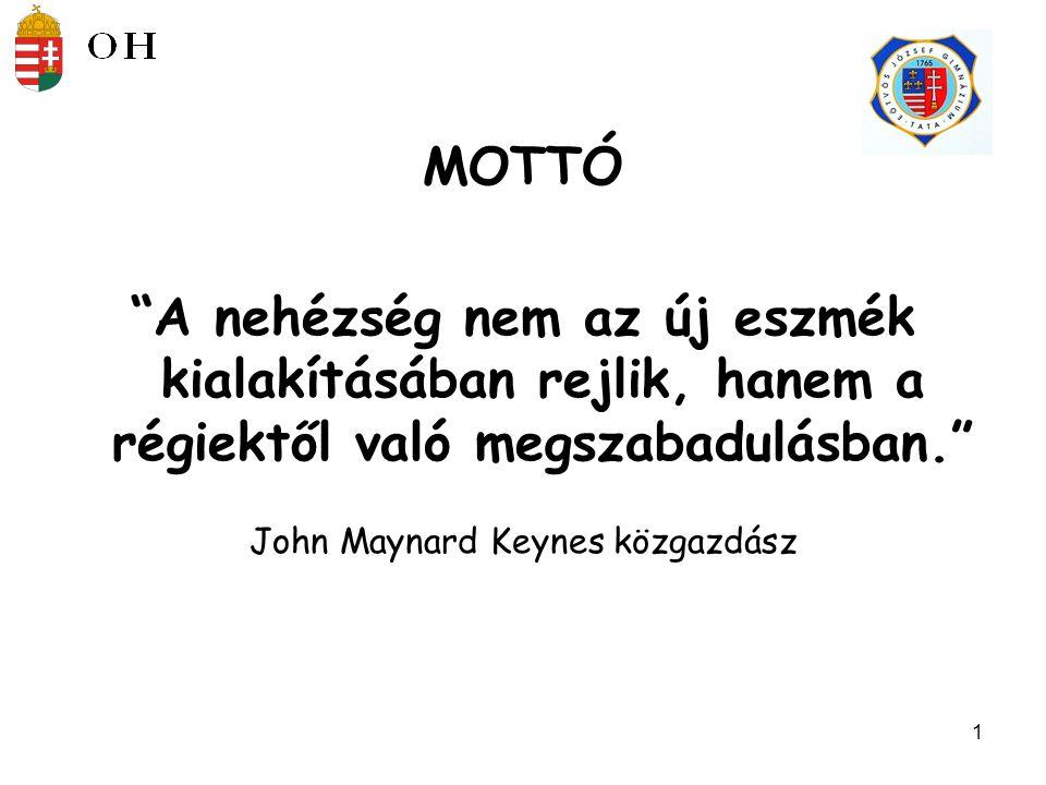 1 MOTTÓ A nehézség nem az új eszmék kialakításában rejlik, hanem a régiektől való megszabadulásban. John Maynard Keynes közgazdász