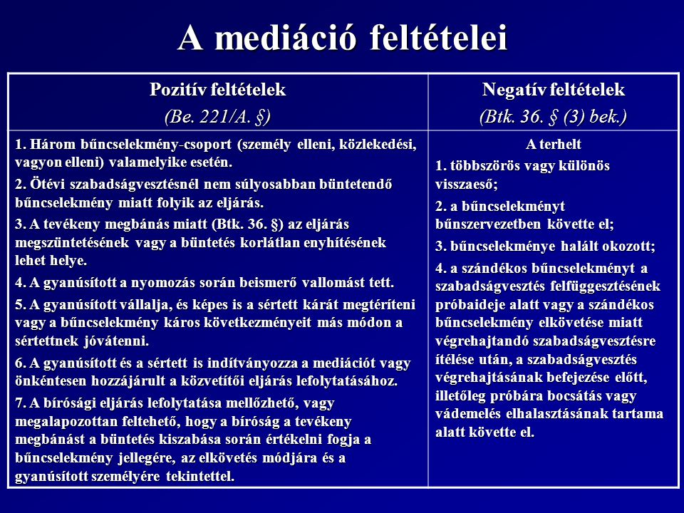 A mediáció feltételei Pozitív feltételek (Be. 221/A. §) Negatív feltételek (Btk. 36. § (3) bek.) 1. Három bűncselekmény-csoport (személy elleni, közle