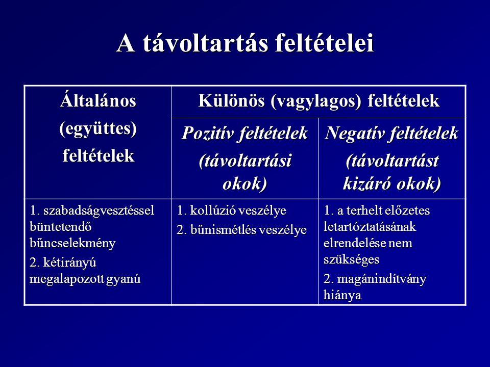 A távoltartás feltételei Általános(együttes)feltételek Különös (vagylagos) feltételek Pozitív feltételek (távoltartási okok) Negatív feltételek (távoltartást kizáró okok) 1.
