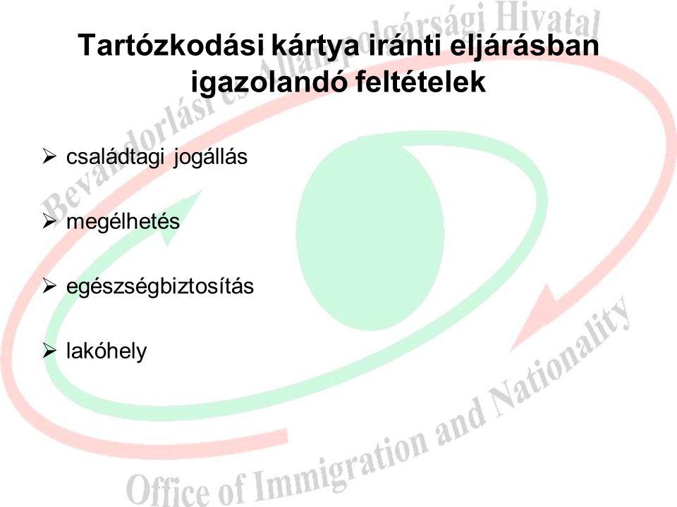 Tartózkodási kártya iránti eljárásban igazolandó feltételek  családtagi jogállás  megélhetés  egészségbiztosítás  lakóhely