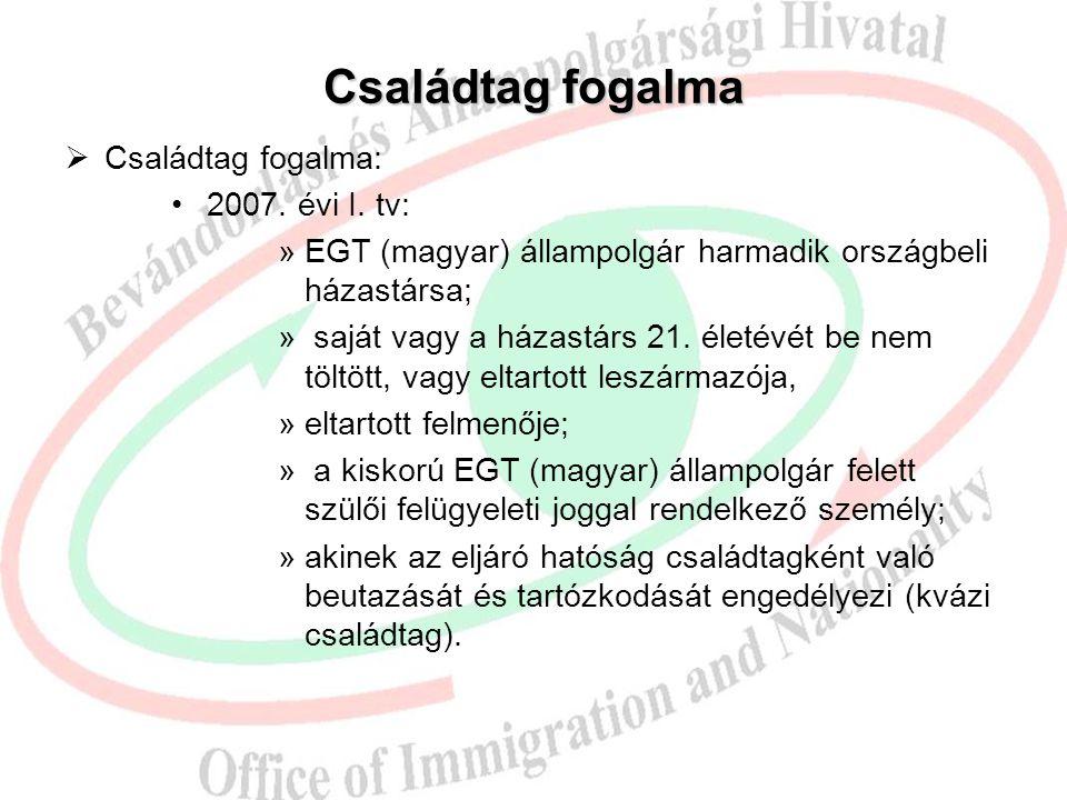 Családtag fogalma  Családtag fogalma: 2007. évi I. tv: »EGT (magyar) állampolgár harmadik országbeli házastársa; » saját vagy a házastárs 21. életévé