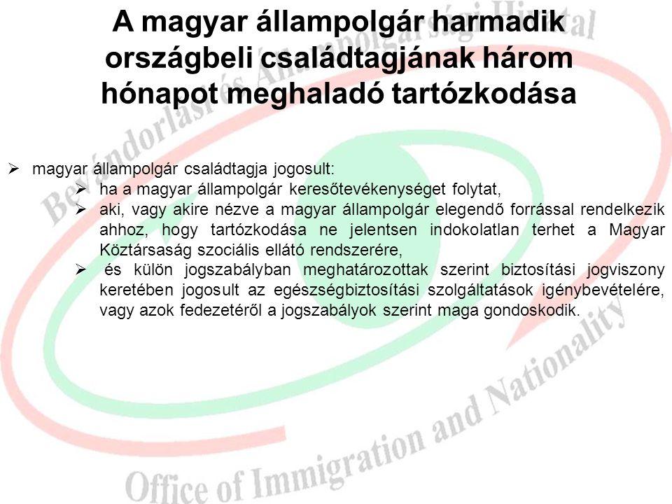 A magyar állampolgár harmadik országbeli családtagjának három hónapot meghaladó tartózkodása  magyar állampolgár családtagja jogosult:  ha a magyar