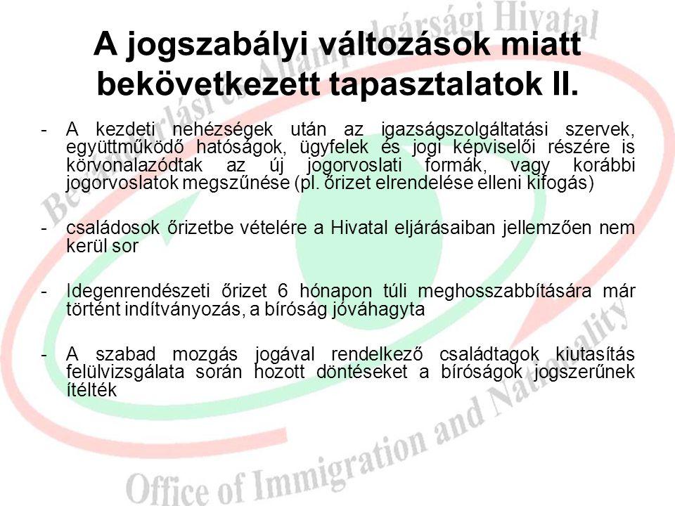A jogszabályi változások miatt bekövetkezett tapasztalatok I.  Hatékonyabb és erőteljesebb fellépés az illegális migrációval szemben  Kiutasítások k