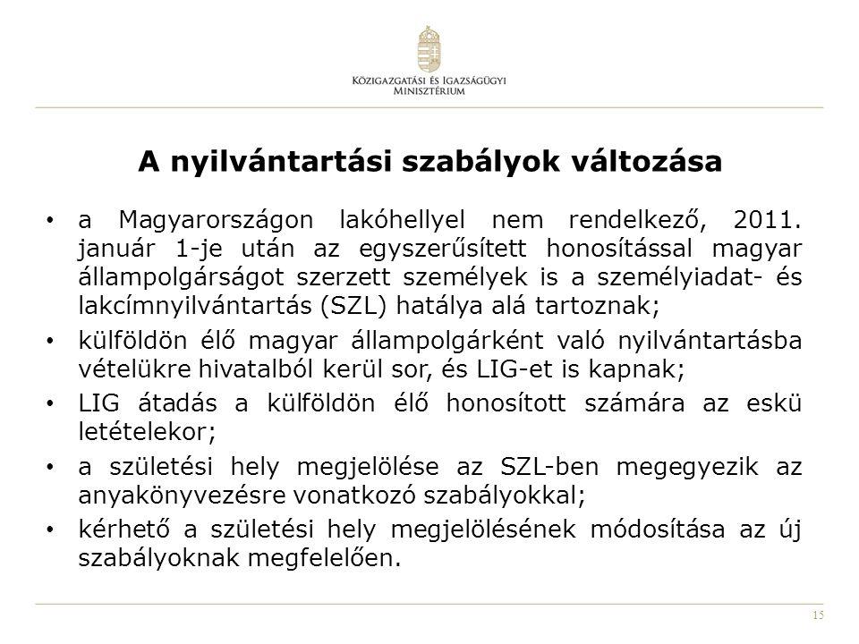 15 A nyilvántartási szabályok változása a Magyarországon lakóhellyel nem rendelkező, 2011. január 1-je után az egyszerűsített honosítással magyar álla