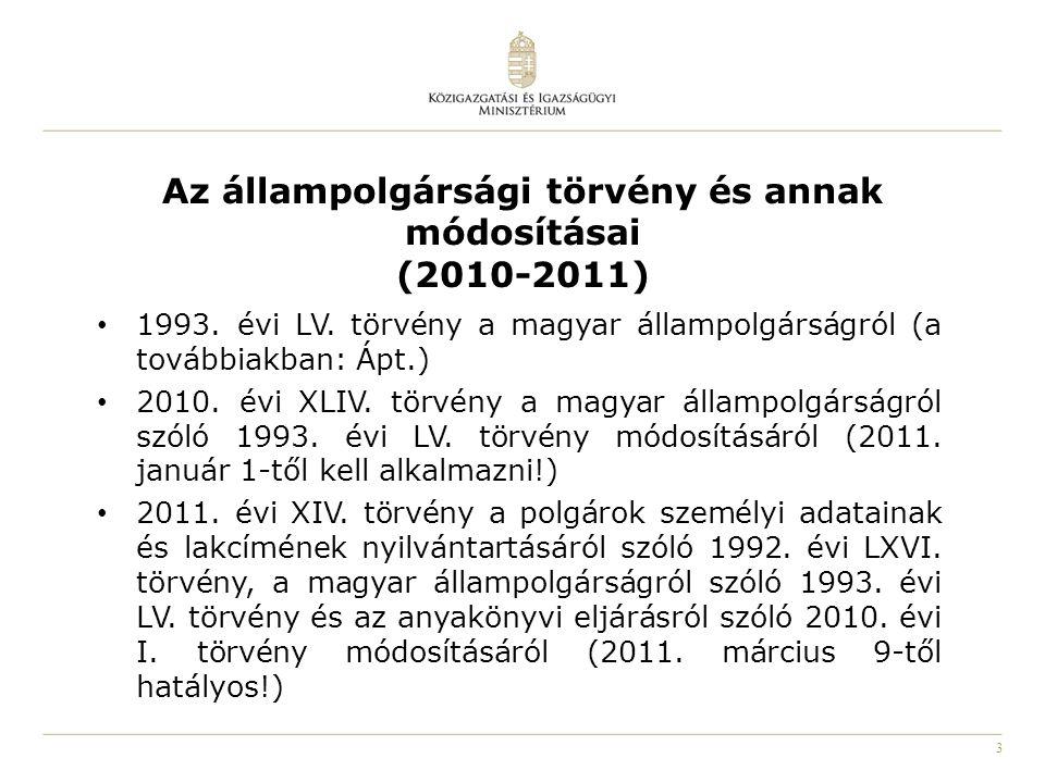 3 Az állampolgársági törvény és annak módosításai (2010-2011) 1993. évi LV. törvény a magyar állampolgárságról (a továbbiakban: Ápt.) 2010. évi XLIV.