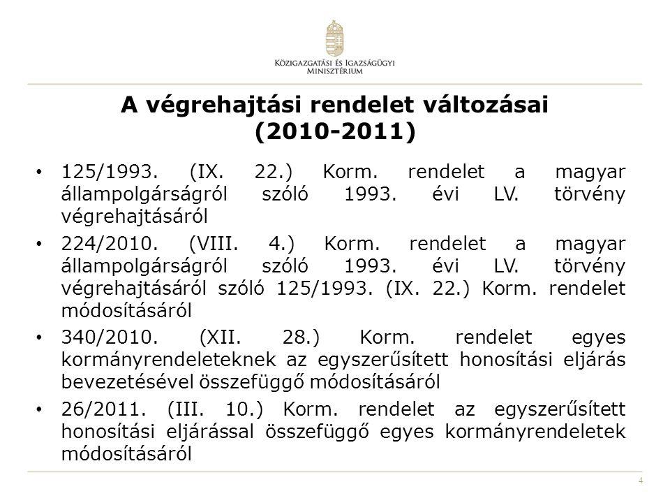 4 A végrehajtási rendelet változásai (2010-2011) 125/1993. (IX. 22.) Korm. rendelet a magyar állampolgárságról szóló 1993. évi LV. törvény végrehajtás