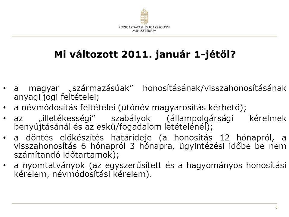 """6 Mi változott 2011. január 1-jétől? a magyar """"származásúak"""" honosításának/visszahonosításának anyagi jogi feltételei; a névmódosítás feltételei (utón"""