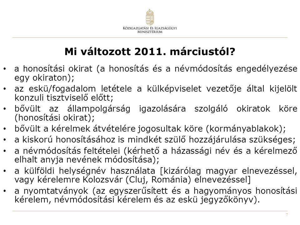 8 Az egyszerűsített honosítási kérelem mellékletei születési anyakönyvi kivonat; családi állapotot igazoló okiratok; a felmenő vagy a kérelmező egykori magyar állampolgárságát igazoló okirat (anyakönyvi kivonat, állampolgársági bizonyítvány, honosítási/visszahonosítási okirat, korabeli munkakönyv, cselédkönyv, névváltoztatási-, elbocsátási okirat, iskolai bizonyítvány, korabeli lakcímbejelentő, katonakönyv, korabeli magyar útlevél; a magyarországi származás valószínűsítésére szolgáló okiratok; (csángók) magyar nyelven, saját kézzel írt önéletrajz; a külföldön élő nagykorú és a 14 életévét betöltött kérelmezőnek 1 db fénykép; a magyarországi lakóhellyel rendelkező kérelmezőknek 2 db arcfénykép, továbbá a személyazonosító igazolvány kiadásához rendszeresített adatlap;