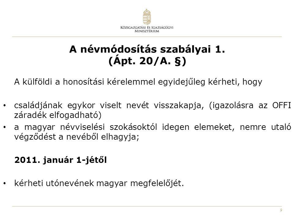 10 A névmódosítás szabályai 2.(Ápt. 20/A. §) 2011.