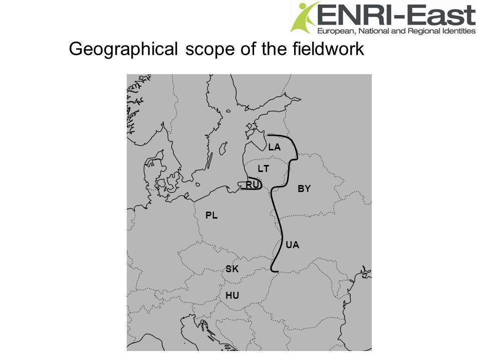 Geographical scope of the fieldwork PL HU SK UA LT BY LA RU