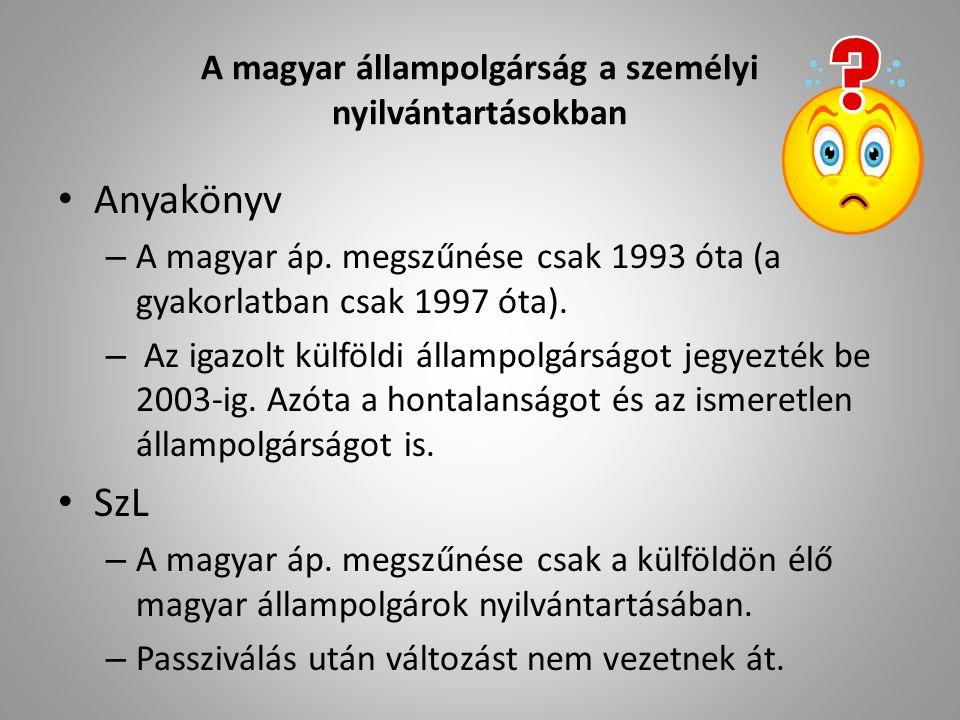 A magyar állampolgárság a személyi nyilvántartásokban Anyakönyv – A magyar áp.