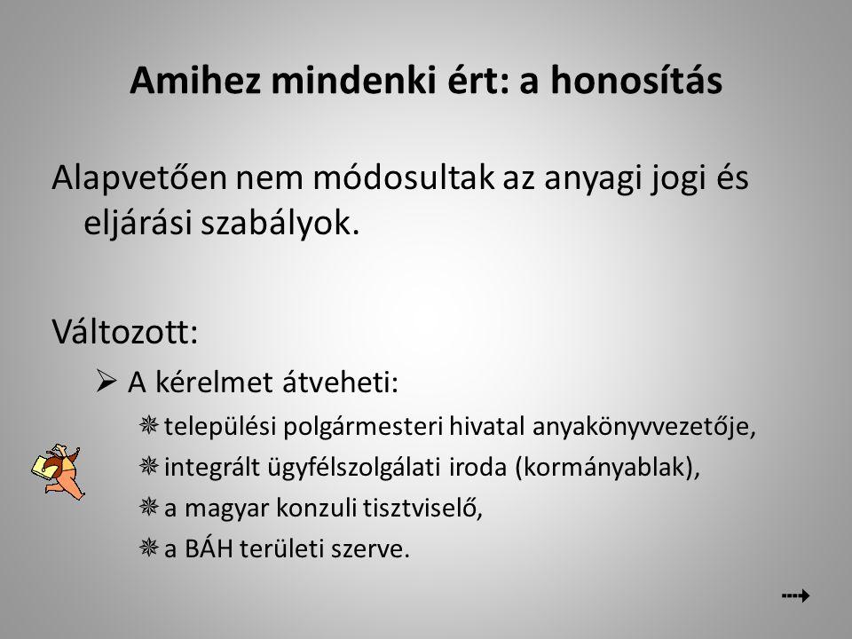  Változott  Kérelem-nyomtatványok  A magyar állampolgárságot igazolja a honosítási okirat is – az ellenkező bizonyításáig  A külföldi helységnevek írása honosítás (és visszahonosítás) esetén: elsődlegesen magyarul kell írni azon települések nevét, amelyeknek volt hivatalos magyar elnevezése (egykor a Magyar Királysághoz tartoztak) Az anyakönyvezésnél (hazai anyakönyvezésnél is elsődlegesen az anyakönyvi esemény idején hatályos helységnevet kell feltüntetni, tehát a honosítási okirat és az egyéb személyi okmányok adata eltér.