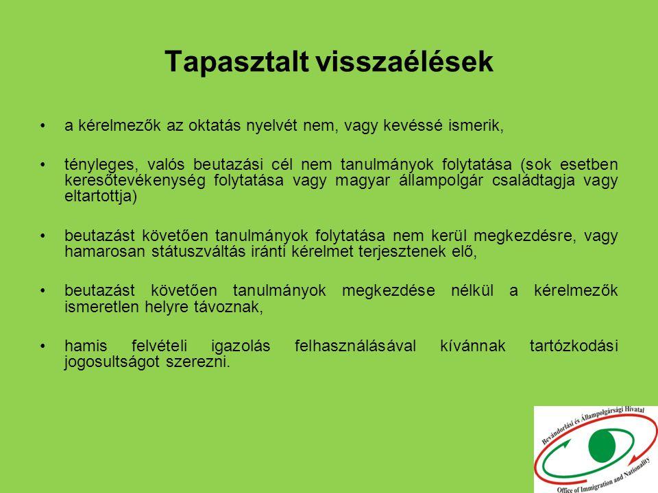 Tapasztalt visszaélések a kérelmezők az oktatás nyelvét nem, vagy kevéssé ismerik, tényleges, valós beutazási cél nem tanulmányok folytatása (sok esetben keresőtevékenység folytatása vagy magyar állampolgár családtagja vagy eltartottja) beutazást követően tanulmányok folytatása nem kerül megkezdésre, vagy hamarosan státuszváltás iránti kérelmet terjesztenek elő, beutazást követően tanulmányok megkezdése nélkül a kérelmezők ismeretlen helyre távoznak, hamis felvételi igazolás felhasználásával kívánnak tartózkodási jogosultságot szerezni.
