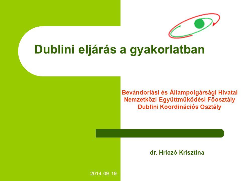 2014. 09. 19. Dublini eljárás a gyakorlatban Bevándorlási és Állampolgársági Hivatal Nemzetközi Együttműködési Főosztály Dublini Koordinációs Osztály