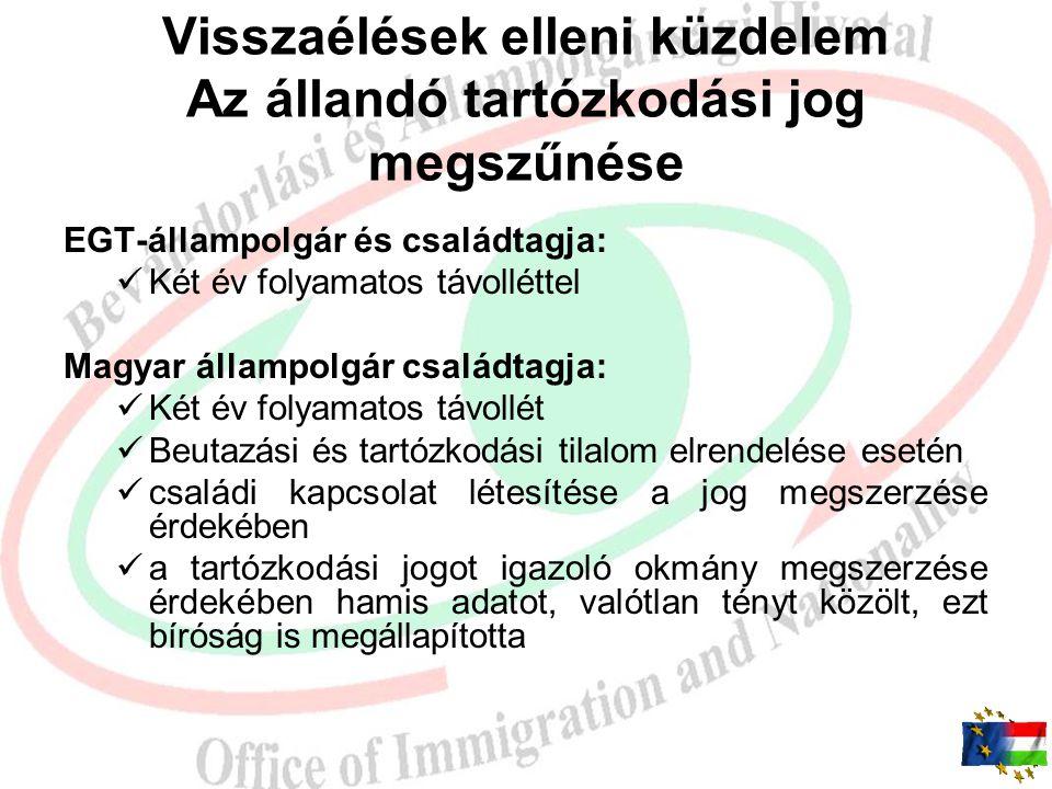 Visszaélések elleni küzdelem A tartózkodási jog megszűnése EGT-állampolgár és családtag: a feltételeket nem teljesíti, a tartózkodási jogot igazoló ok