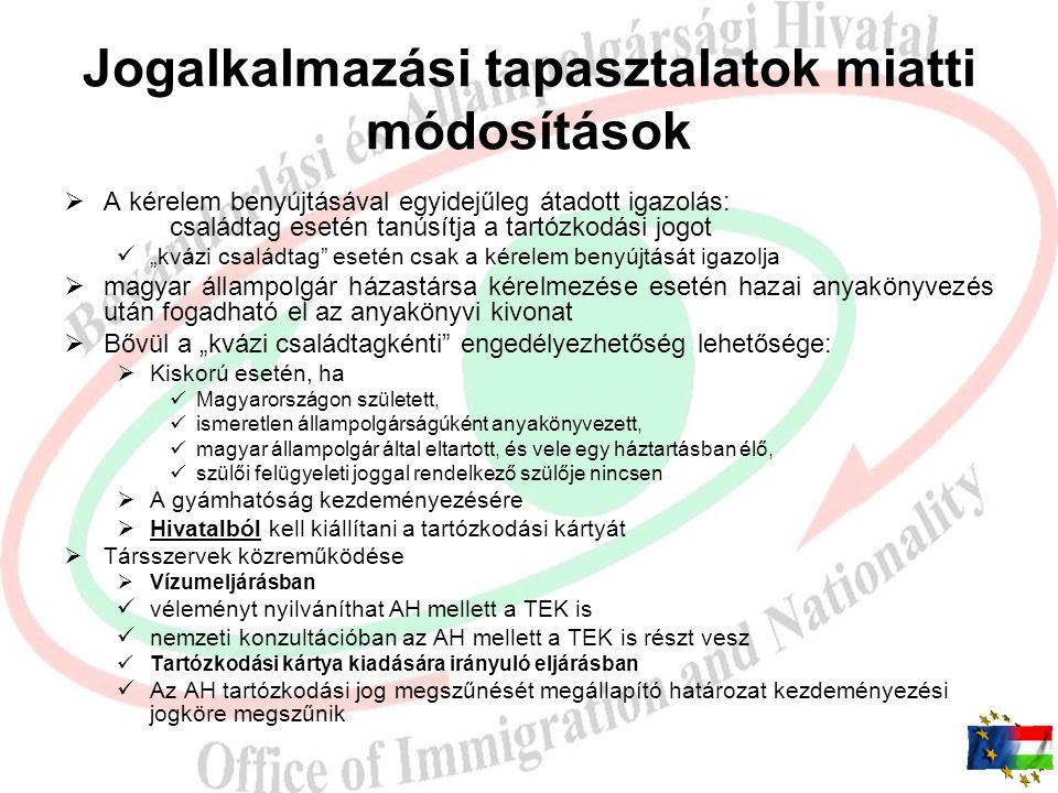 Biometrikus okmányok 2011.05.20-tól  Magyar állampolgár harmadik országbeli családtagja részére kiadott tartózkodási kártya  Kishatárforgalmi engedé