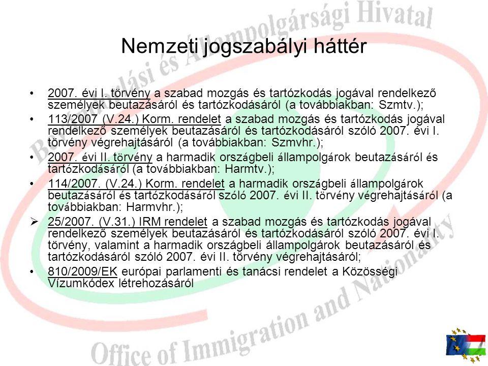 Nemzeti jogszabályi háttér 2007.évi I.