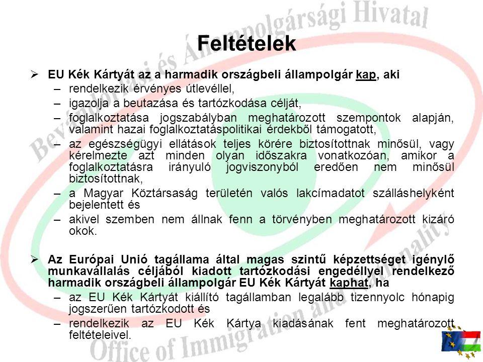 EU Kék Kártya iránti eljárás iránti eljárás Harmadik országbeli állampolgár, mint ügyfél EU Kék Kártya Kérelem érdemi elbírálása: BÁH regionális igazg