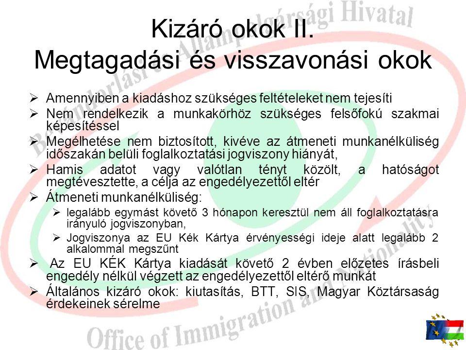 Kizáró okok I. Nem kaphat EU Kék Kártyát:  Menekültkénti elismerését kérő  Menekült, oltalmazott, befogadott  Kutatás célú tartózkodási engedéllyel