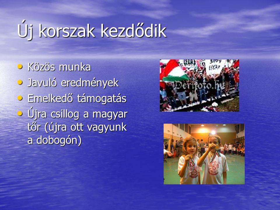 Új korszak kezdődik Közös munka Közös munka Javuló eredmények Javuló eredmények Emelkedő támogatás Emelkedő támogatás Újra csillog a magyar tőr (újra ott vagyunk a dobogón) Újra csillog a magyar tőr (újra ott vagyunk a dobogón)
