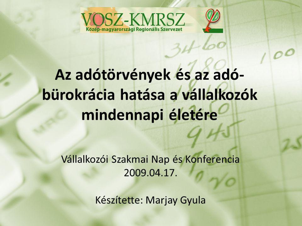 Az adótörvények és az adó- bürokrácia hatása a vállalkozók mindennapi életére Vállalkozói Szakmai Nap és Konferencia 2009.04.17.