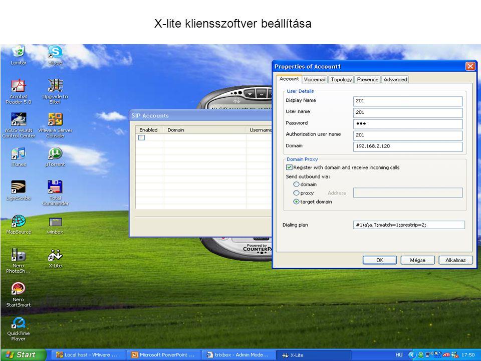 X-lite kliensszoftver beállítása