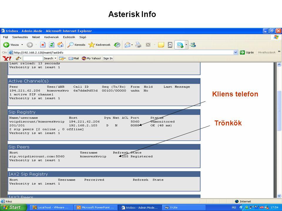 Asterisk Info Kliens telefon Trönkök