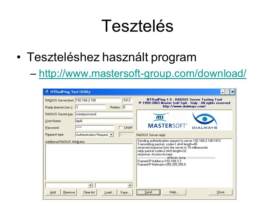 Tesztelés Teszteléshez használt program –http://www.mastersoft-group.com/download/http://www.mastersoft-group.com/download/
