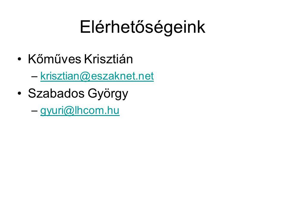 Elérhetőségeink Kőműves Krisztián –krisztian@eszaknet.netkrisztian@eszaknet.net Szabados György –gyuri@lhcom.hugyuri@lhcom.hu