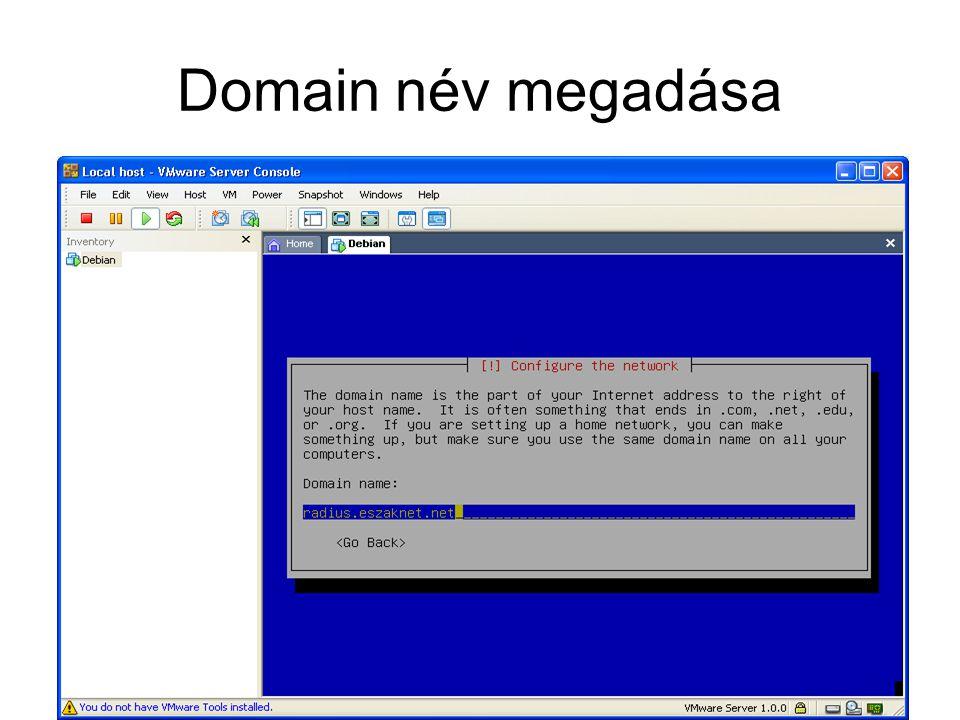 SQL adattáblák létrehozása A táblák letölthetők a –www.eszaknet.net/mikrotik/freeradius.sql linkrőlwww.eszaknet.net/mikrotik/freeradius.sql –A letöltött táblákat a Mysql –uroot radius </utvonal/freeradius.sql parancsal lehet létrehozni