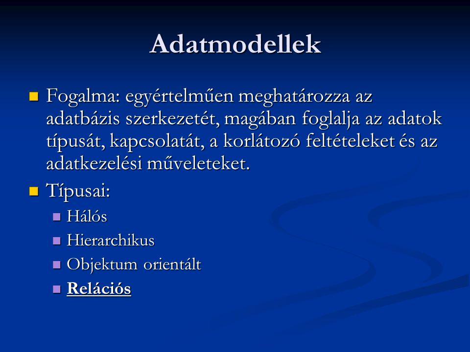 Adatmodellek Fogalma: egyértelműen meghatározza az adatbázis szerkezetét, magában foglalja az adatok típusát, kapcsolatát, a korlátozó feltételeket és