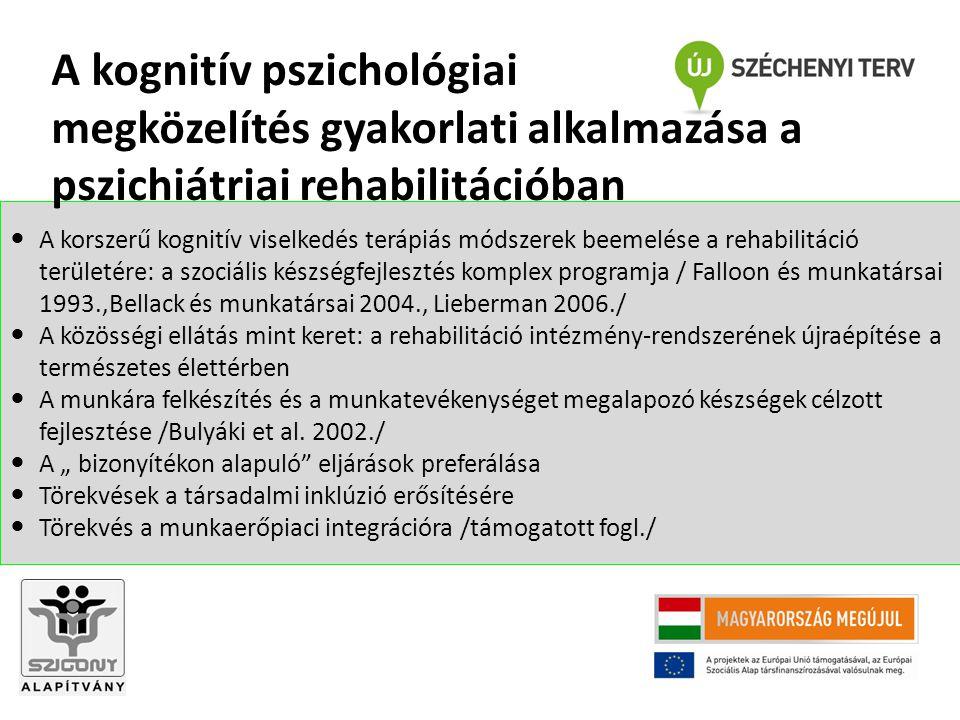 A korszerű kognitív viselkedés terápiás módszerek beemelése a rehabilitáció területére: a szociális készségfejlesztés komplex programja / Falloon és m