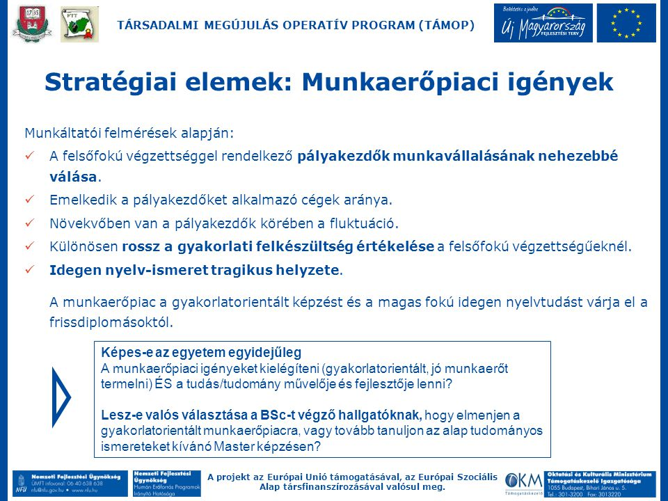 A projekt az Európai Unió támogatásával, az Európai Szociális Alap társfinanszírozásával valósul meg. TÁRSADALMI MEGÚJULÁS OPERATÍV PROGRAM (TÁMOP) Mu