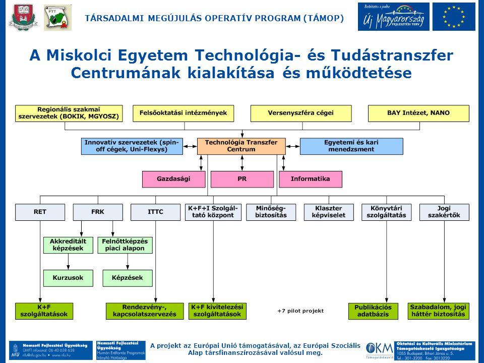A projekt az Európai Unió támogatásával, az Európai Szociális Alap társfinanszírozásával valósul meg. TÁRSADALMI MEGÚJULÁS OPERATÍV PROGRAM (TÁMOP) A