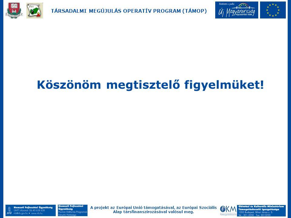 A projekt az Európai Unió támogatásával, az Európai Szociális Alap társfinanszírozásával valósul meg. TÁRSADALMI MEGÚJULÁS OPERATÍV PROGRAM (TÁMOP) Kö