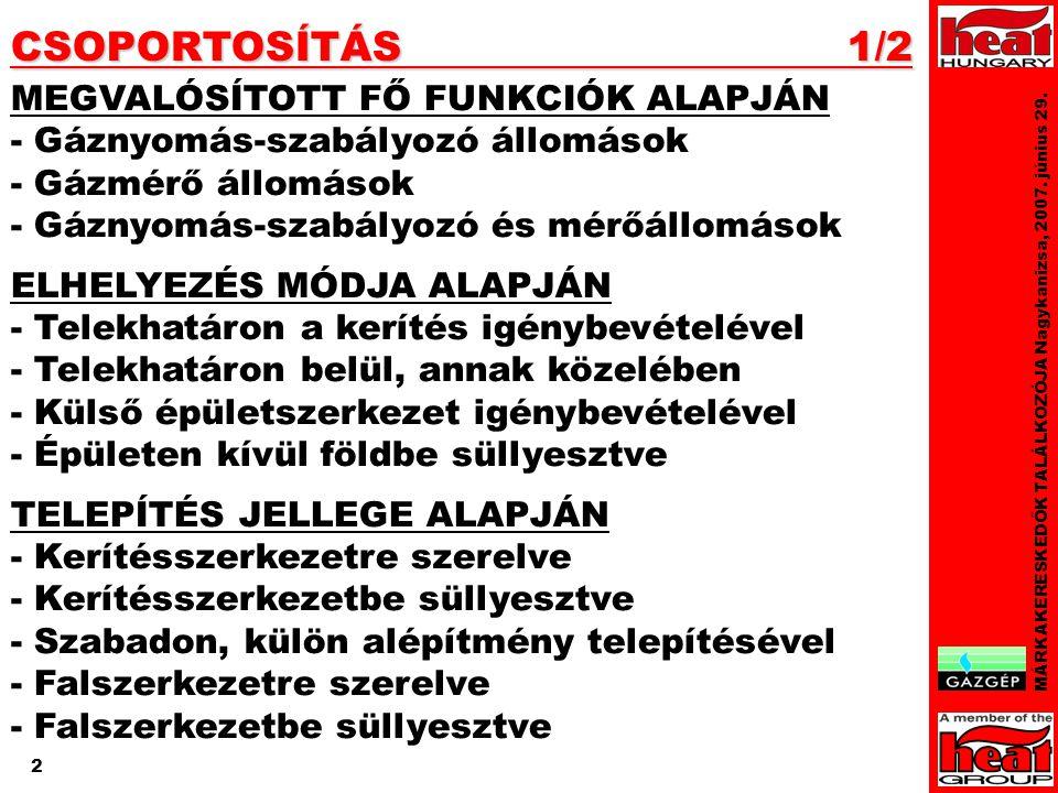 2 CSOPORTOSÍTÁS 1/2 MÁRKAKERESKEDŐK TALÁLKOZÓJA Nagykanizsa, 2007.
