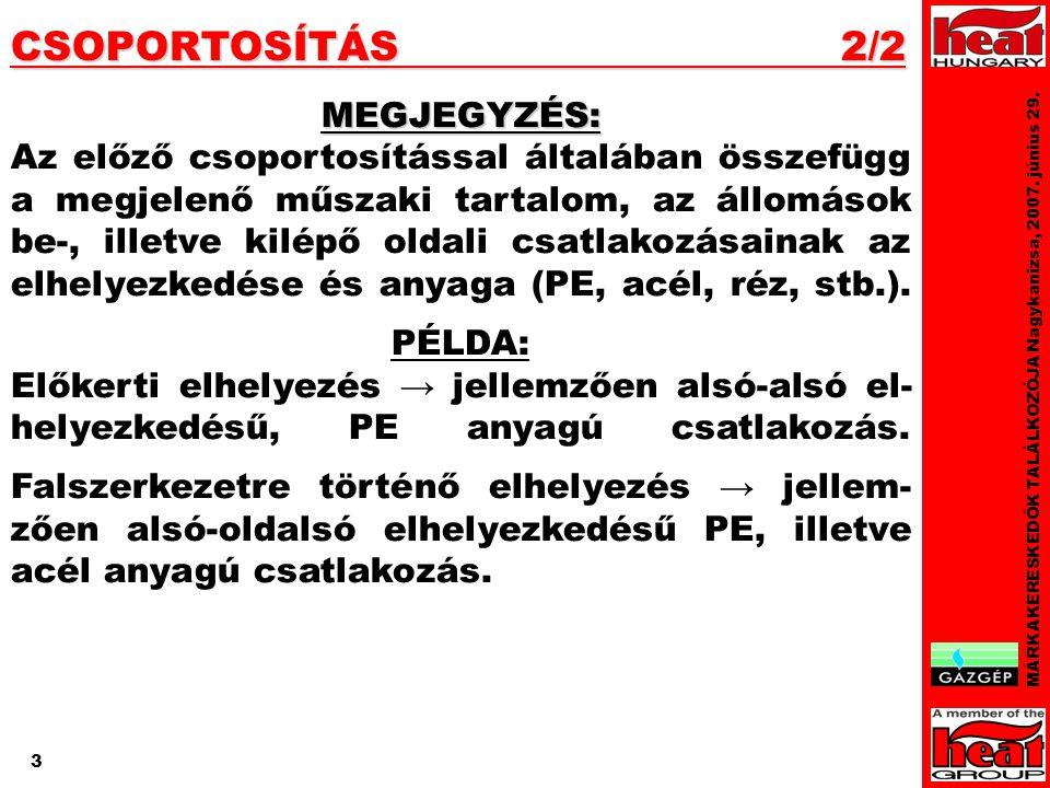 3 CSOPORTOSÍTÁS 2/2 MÁRKAKERESKEDŐK TALÁLKOZÓJA Nagykanizsa, 2007.